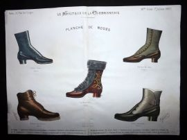 Le Moniteur de la Cordonnerie 1887 Rare Hand Colored Shoe Design Print 71